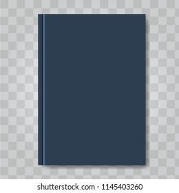 Vector Book cover mock up. Dark blue color. Ready template blank white vertical design template.