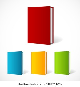 Vector book cover set perspective . Vertical Template.