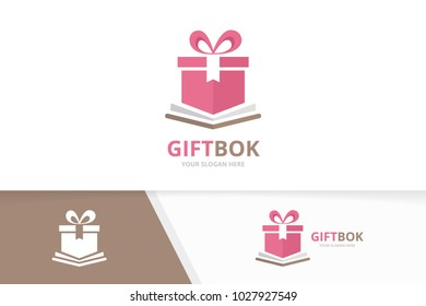 Vector book and gift logo combination. Present and market symbol or icon. Unique bookstore, library and surprise logotype design template.