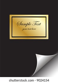 Vector - Book with golden emblem with page curl. Copy space for image or text.