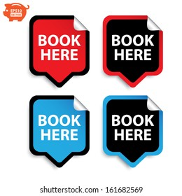 Vector: Book here stickers or sign set. Eps10.