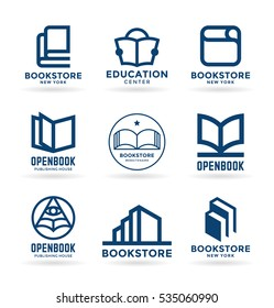 Vector book icons, logo design elements and logotype templates