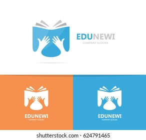Vector book logo combination. Arm and library symbol or icon. Unique bookstore logotype design template.