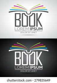Vector book logo illustration. Icon template for education or company. Eps 10 graphic.