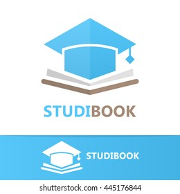 Vector book and student cap logo concept