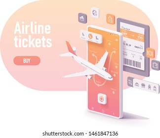 Vector booking or buying airline tickets app concept. Smartphone with airplane, airports map, electronic or digital airline ticket, icons with services