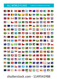Vector Bookmark Flat Icons All Flags. Vector illustration.