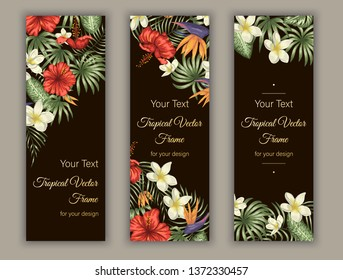Vector bookmarks with green tropical leaves, plumeria, strelitzia and hibiscus flowers on black background. Summer or spring tropical vertical templates. Trendy exotic jungle design