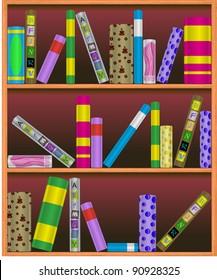 Vector bookshelf illustration