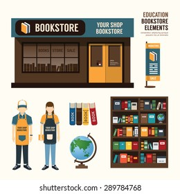 Vector bookstore set design, shop store, package, t-shirt, cap, uniform and front display design/ layout set of corporate identity mock up template.