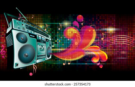 Vector boom box on bright colorful background