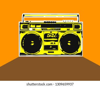 Vector boombox on orange background. Zine style.