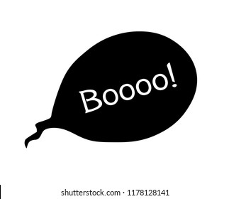 vector booo of Halloween inscriptions. speech bubble with expression text BOOO. black simple silhouette vector illustration.
