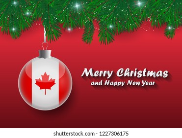 vector border of christmas tree branches and ball with canada flag merry christmas and happy