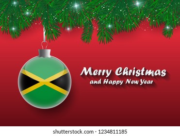 Vector border of Christmas tree branches and ball with jamaica flag. Merry christmas and happy new year.