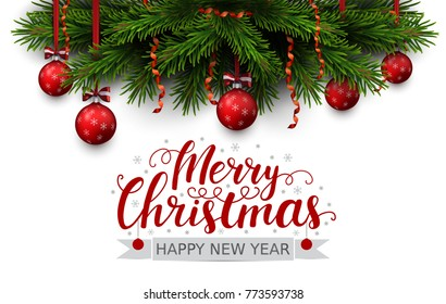 Vector border of Christmas tree branches with red ribbon and balls. Merry christmas and happy new year