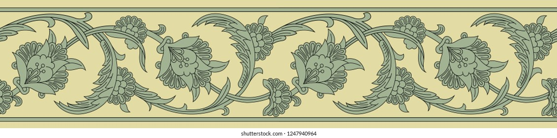 Vector border for decoration of Oriental designs. A lot of monotonous color for the brightness of its design. Pattern in different style, Iranian, Indian, Arabic and antique.