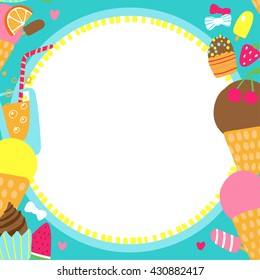 Vector Border with Delicious Ice Cream Cupcakes Strawberry and Orange Vertical Seamless