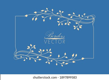 Vector border or frame background in blue azure color with elegant floral corners and border pattern, graceful hand drawn ivy vines and flourishes in ornate champagne beige label or tag design