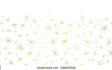 Vector border Gold foil Dandelion seeds seamless repeat
