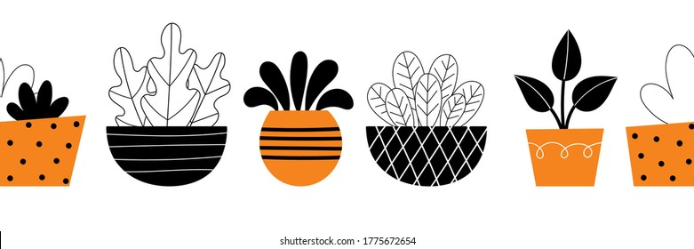 Vector border of indoor plants. Home decor, gardening, potted flowers. Room decoration. Stylized design illustration on a white background. Space for text.