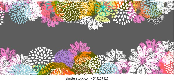 Vector border with lemon, white, blue, pink stylized doodle flowers and place for your text on gray background.