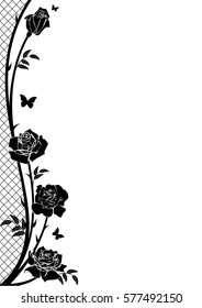 vector border with rose, butterflies and lattice in black and white color