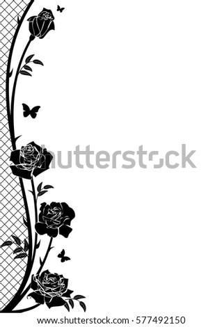 Vector Border Rose Butterflies Lattice Black Stock Vector Royalty