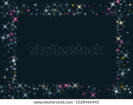 vector border of star sparkle texture glitter pattern premium colored confetti of flying stars