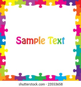 Vector Border/Frame of Colorful Jigsaw Pieces