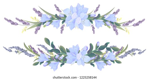 Vector borders of freesia and lavender flowers. All elements are isolated.