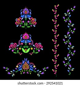 vector borders and headers. folk Polish European style, with abstract floral motives. very colorful and vibrant, for banners, ads. cards, invitations. design elements set.
