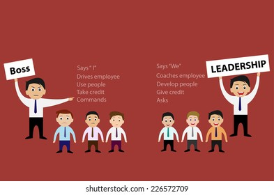 Vector of Boss and Leadership for Business Teamwork Concept