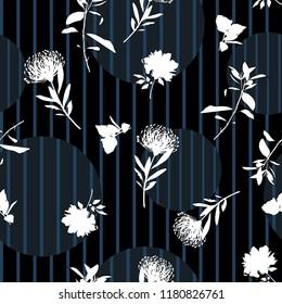 Vector botanic silhouette floral seamless pattern on modern colorful stripe polka dot, delicate flower wallpaper, wild flowers  wallpaper on black line color background