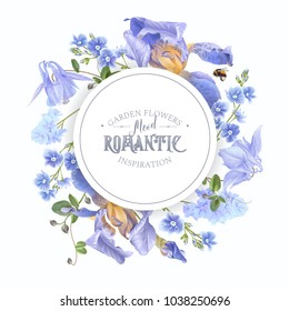 Vector botanical banner with blue flowers on white background. Floral design for natural cosmetics, perfume, women products. Can be used as greeting card, wedding invitation, spring background