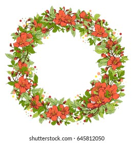 Vector botanical banner with round frame of hand-painted flowers in bright colors on white background. Can be used as background, card, invitation or cover for natural cosmetic and health care product