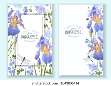 Vector botanical banners with blue flowers on white background. Floral design for natural cosmetics, perfume, women products. Can be used as greeting card, wedding invitation, spring background
