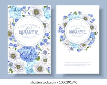 Vector botanical banners with blue flowers isolated on white background. Floral design for natural cosmetics, perfume, women products, greeting card, wedding invitation, summer background