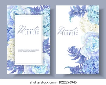 Vector botanical banners with blue peony, hydrangea and fern. Floral design for natural cosmetics, perfume, women products. Best for greeting card, wedding invitation.Can be used as festive background