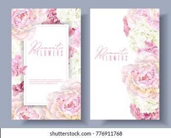 Vector botanical banners with pink peony and white hydrangea flowers. Romantic design for natural cosmetics, perfume, women products. Can be used as greeting card or wedding invitation