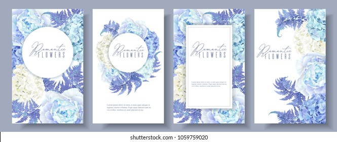 Vector botanical banners set with blue peony, hydrangea and fern. Floral design for natural cosmetics, perfume, women products, greeting card, wedding invitation. Can be used as spring background