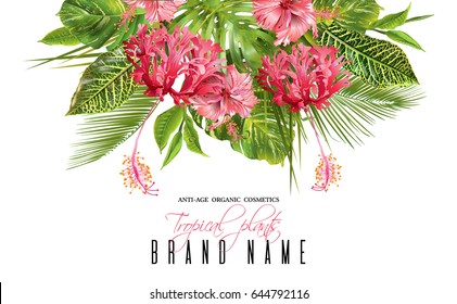 Vector botanical composition with tropical leaves and red exotic flowers on white background. Bright design for cosmetics, spa, health care products, travel company, wedding or summer background