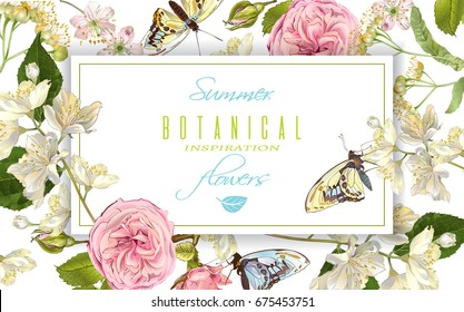 Vector botanical horizontal banner with rose, linden, jasmine flowers and butterflies. Design for tea, natural cosmetics, sweets and chocolate packaging.Can be used as greeting card,wedding invitation