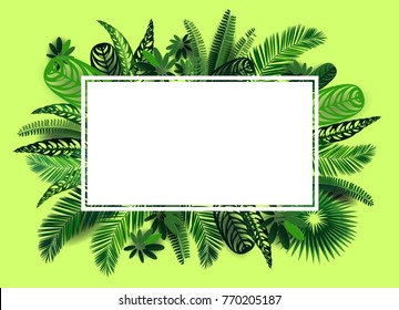 Vector botanical horizontal banner with tropical leaves in style art paper, on a yellow background. Design for cosmetics, spa, medical products, travel company, wedding invitation