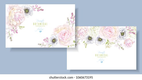 Vector botanical horizontal banners with peony, hydrangea and anemone flowers. Floral design for natural cosmetics, perfume, women products, greeting, wedding invitation, summer background