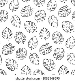 Vector botanical illustration of monstera leaf. Isolated outline drawing. Modern illustration of tropical plant. Set of exotic palm leaves silhouettes. Vector seamless floral black and white pattern