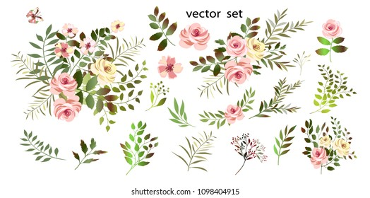 .Vector.  Botanical illustration.Flower arrangements of pink roses, colorful leaves, wild herbs. A set of bouquets, twigs, floral elements.