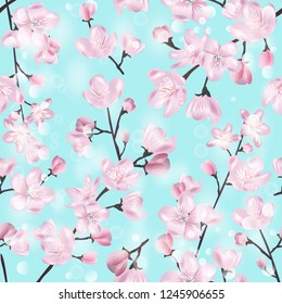 Vector botanical seamless pattern with Blossoming sakura branch on blue. Modern floral pattern for textile, wallpaper, print, gift wrap, greeting or wedding background.
