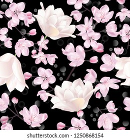 Vector botanical seamless pattern with Blossoming sakura and tulips on black. Modern floral pattern for textile, wallpaper, print, gift wrap, greeting or wedding background.