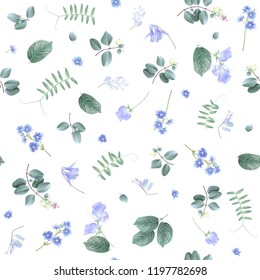 Vector botanical seamless pattern with blue flowers and leaves on white. Floral background for natural cosmetics, perfume, women products, greeting or wedding card, wrapping paper, fabric print
